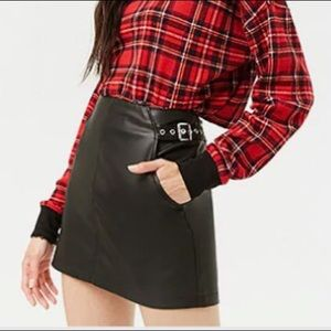 Faux Leather Belted Skirt